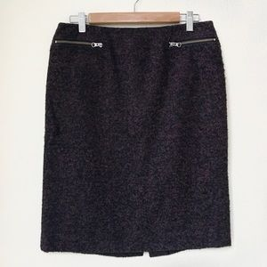 Nordstrom Collection Plum Wool Blend Pencil Skirt